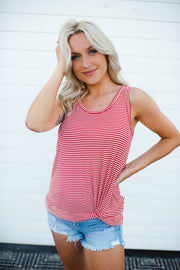 Let's Go Striped Twist Tank (Red)