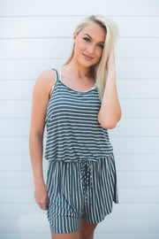 Walk The Line Striped Romper (Charcoal) FINAL SALE