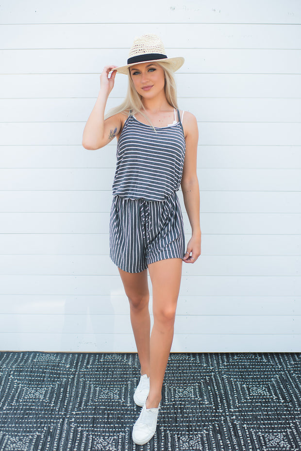 Walk The Line Striped Romper (Charcoal)