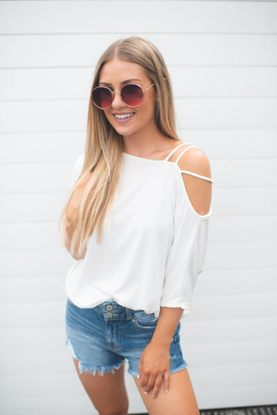 Marcy Cold Shoulder Top (Ivory)