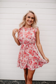 The Lydia Floral Mini Dress (Red/Ivory) FINAL SALE