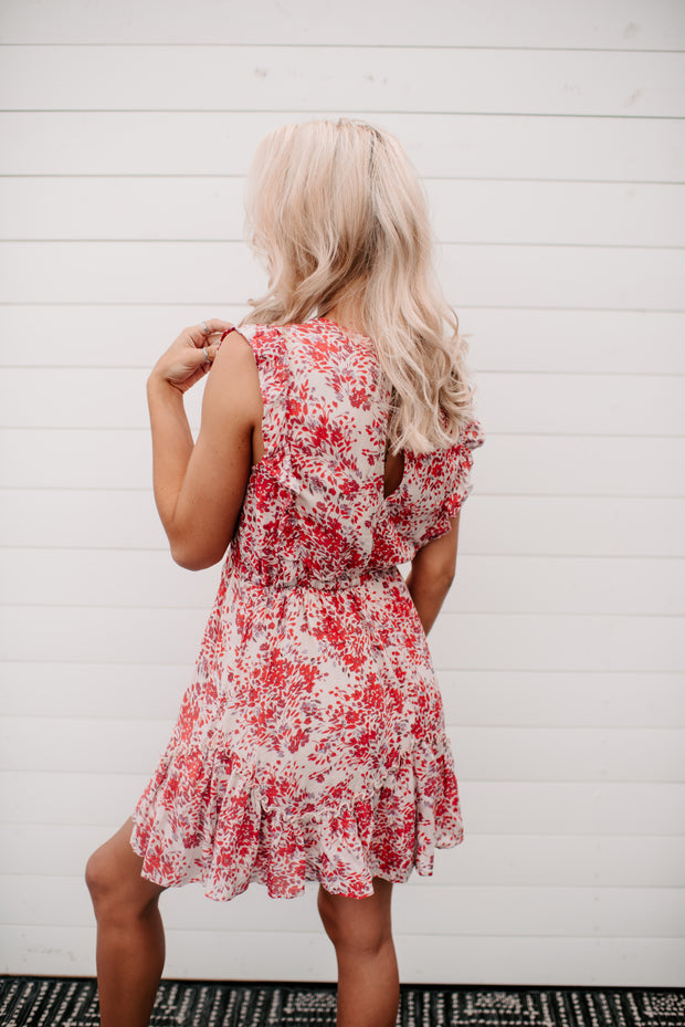 The Lydia Floral Mini Dress (Red/Ivory)