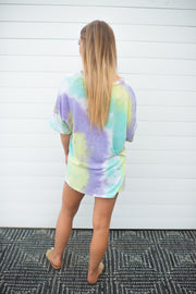 The Charlie Tie Dye Top (Mint/Purple)