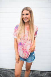 Sweet Tooth Tie Dye Tee (Pink/Orange)