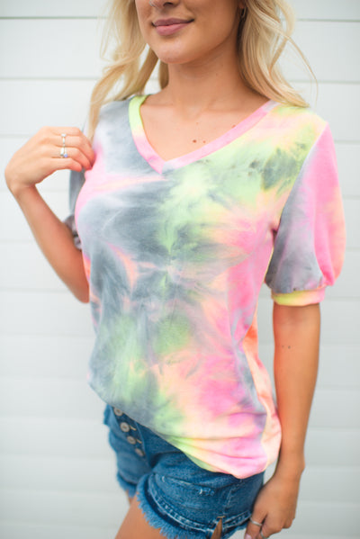 Puff Sleeve Tie Dye V-Neck (Charcoal)