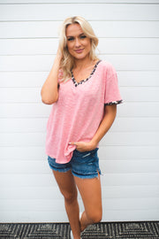 Heathered Leopard V-Neck (Coral) FINAL SALE