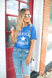 American Woman Graphic Tee (Royal Blue)