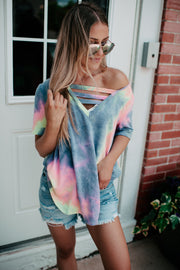 The Lola Strappy V-Neck (Dark Tie Dye) FINAL SALE