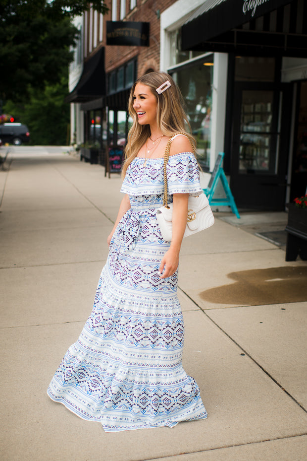 The Ayla Aztec Maxi (Ivory/Blue)