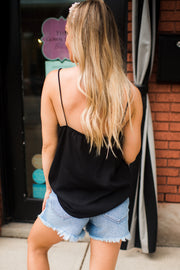 The Tanya Ruffle Tank (Black)