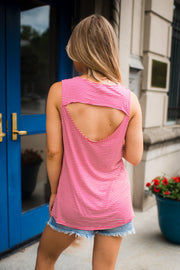 Open Back Striped Tank Top (Red) FINAL SALE