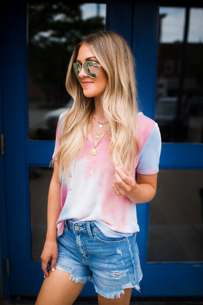 DEAL OF THE DAY: The Tori Tie Dye V-Neck (Pink) FINAL SALE