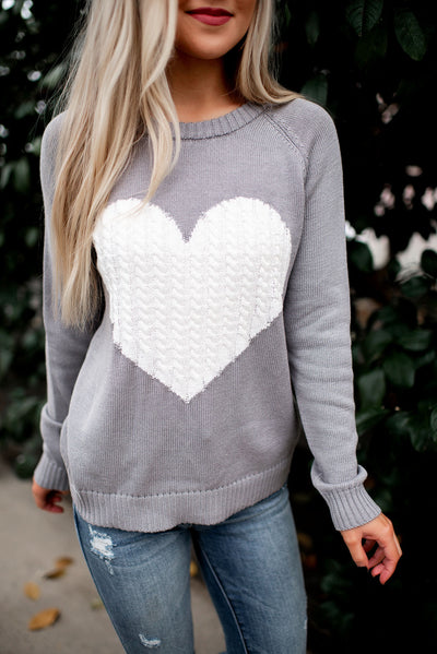 Embrace My Heart Sweater (Grey/Ivory) FINAL SALE
