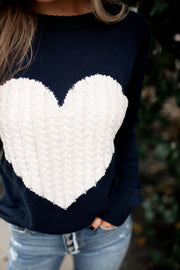 Embrace My Heart Sweater (Navy/Ivory) FINAL SALE