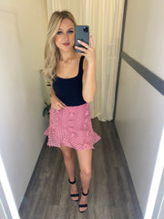 Pom Pom Wrap Skirt (Rose Mauve)