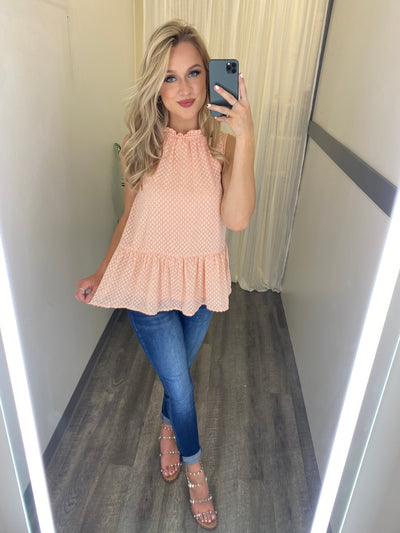 The Gracie Peplum Tank (Peach)