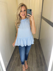 The Gracie Peplum Tank (Chambray)