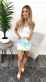 Tie Dye Denim Skirt FINAL SALE