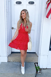 Polka Dot Ruffle Dress (Red)