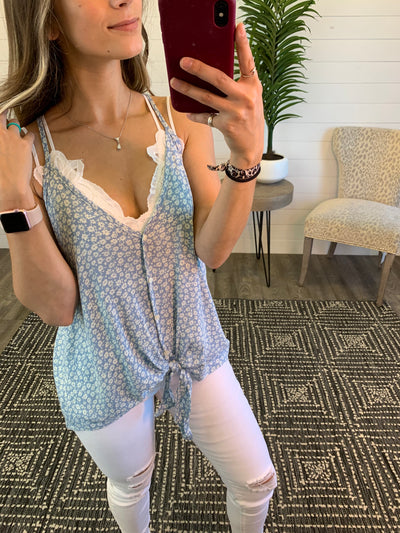 Dainty Floral Knot Tank (Blue)