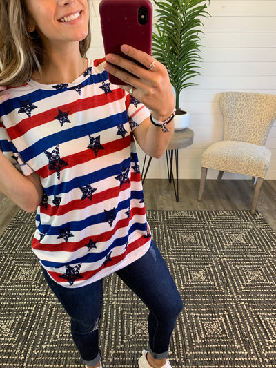 Justice For All Striped Tee (RW&B)