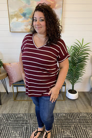 Striped Split Tunic (Dark Burgundy/Ivory) FINAL SALE