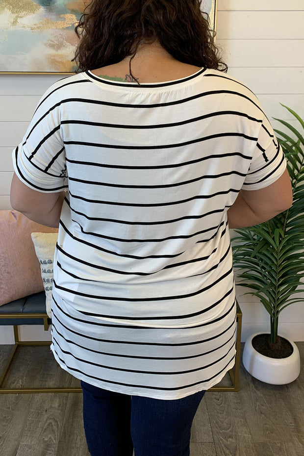 Striped Split Tunic (Ivory/Black) FINAL SALE