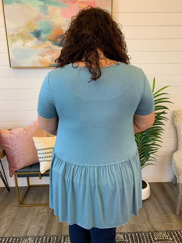 The Posie Peplum Tunic (Blue Grey)