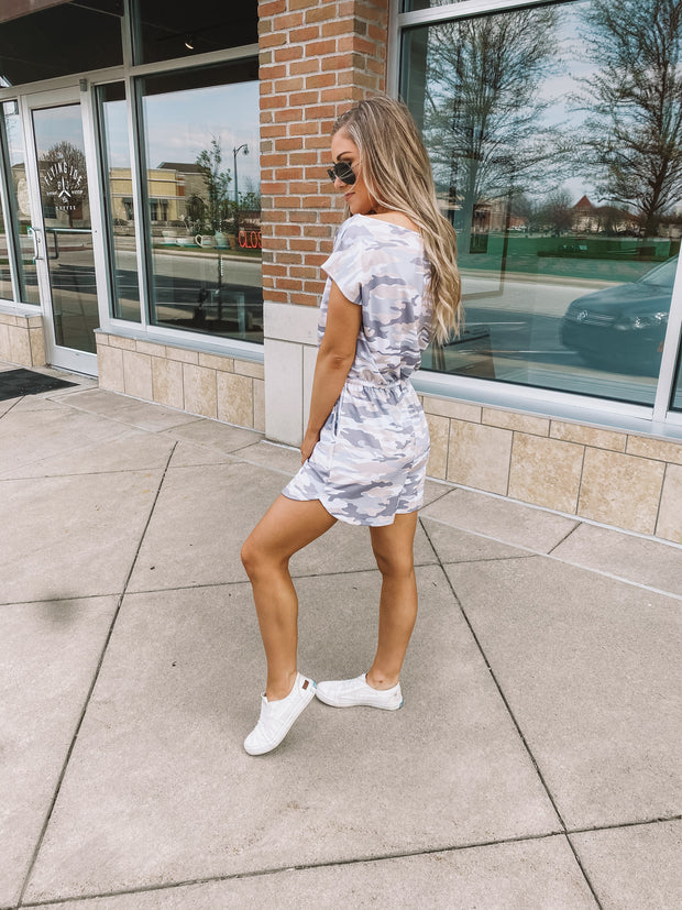 Cream/Grey Camo Romper