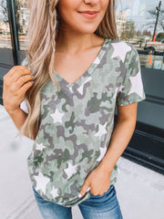 Starred In Camo V-Neck