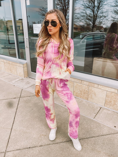 Sabrina Tie Dye Joggers (Magenta/Yellow) FINAL SALE
