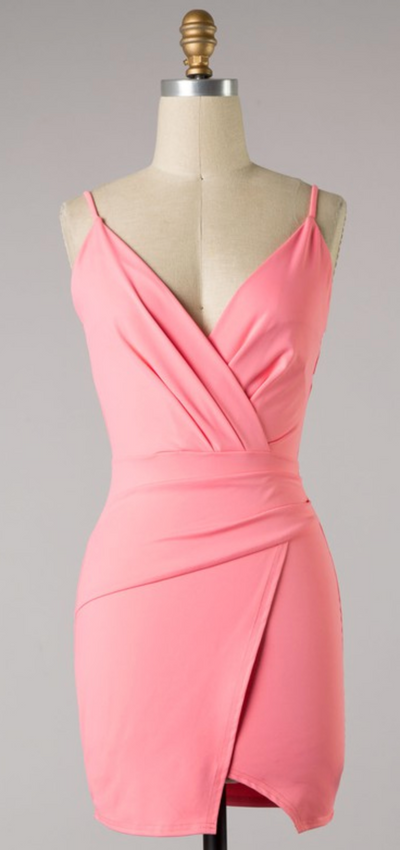 The Naomi Body Con Mini Dress (Light Coral)