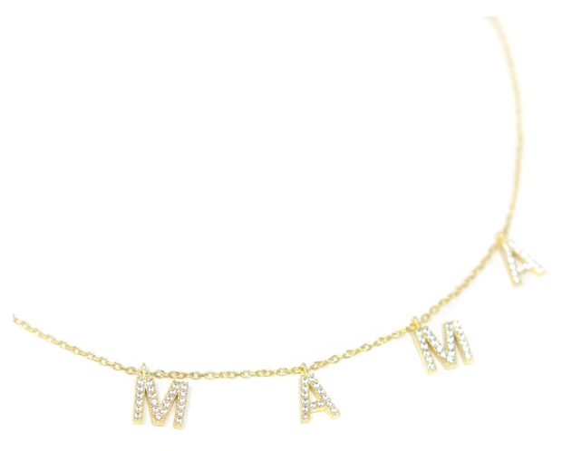 MAMA Necklace (Gold with Crystals)