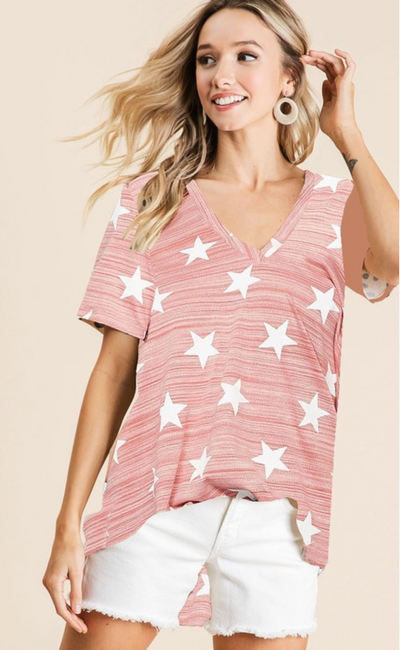 Sprinkled In Stars V-Neck (Red)
