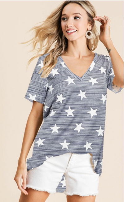 Sprinkled In Stars V-Neck (Blue)