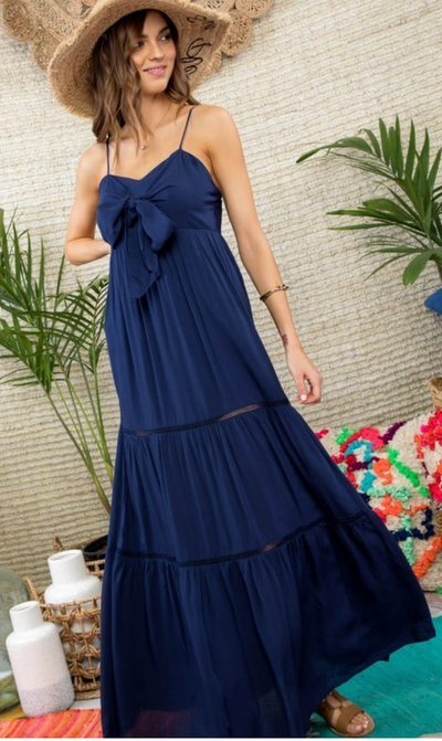 The Leona Tiered Maxi (Navy)