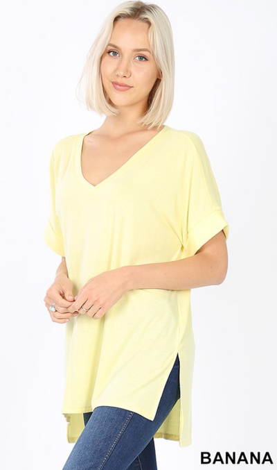 Beatrice V-Neck Tunic (Banana) FINAL SALE