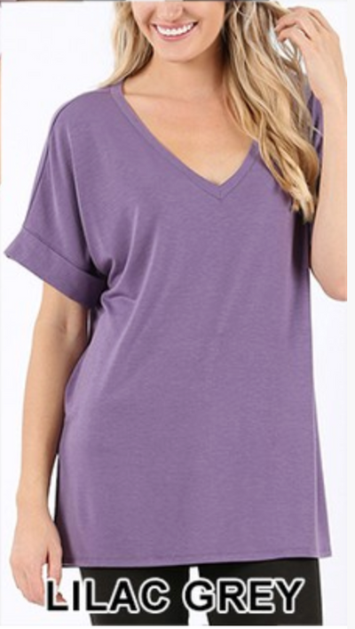 Beatrice V-Neck Tunic (Lilac Grey)