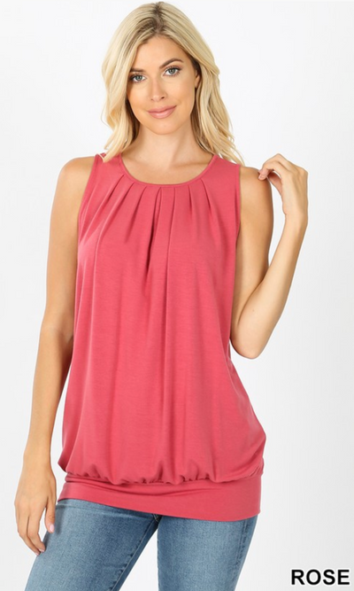 Zoey Pleated Tank Top (Rose)