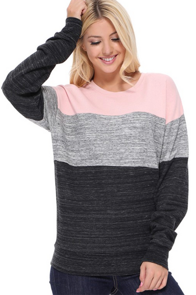 Heathered Block Crewneck (Blush/Grey)