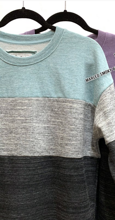 Heathered Block Crewneck (Mint/Grey)