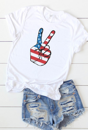 American Flag Peace Tee (White)