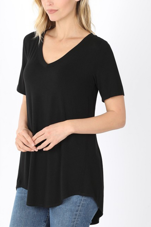 The Vicki V-Neck (Black) FINAL SALE