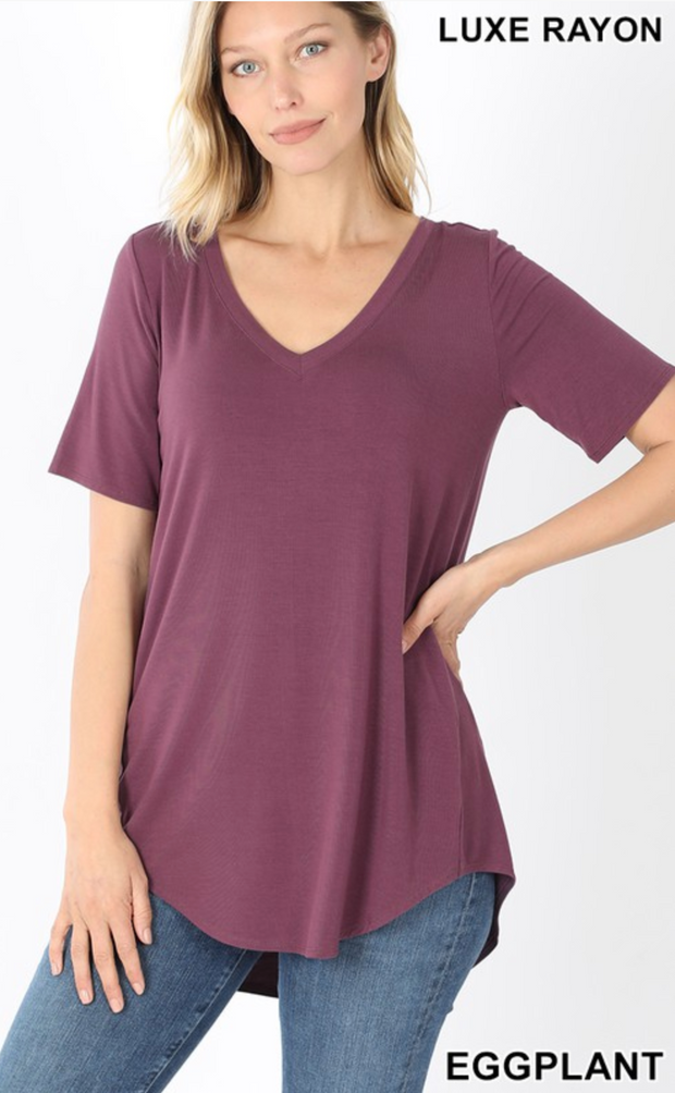 The Vicki V-Neck (Eggplant) FINAL SALE