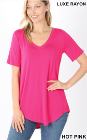 The Vicki V-Neck (Hot Pink) FINAL SALE