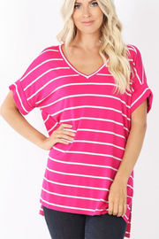 Striped Split Tunic (Hot Pink/Ivory) FINAL SALE