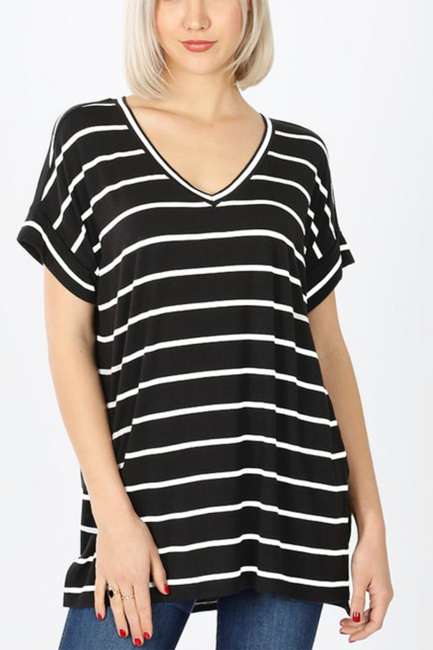 Striped Split Tunic (Black/Ivory) FINAL SALE