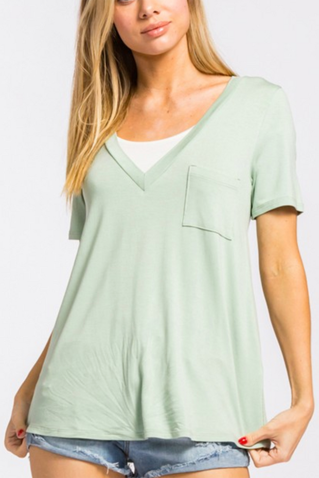 The Next Step Pocket Top (Sage) FINAL SALE