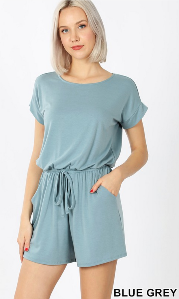 The Kiki Romper (Blue Grey) FINAL SALE