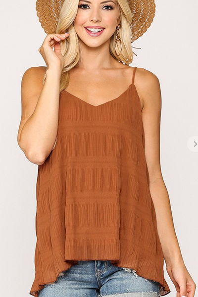 Pleats To Meet You Tank (Red Clay)